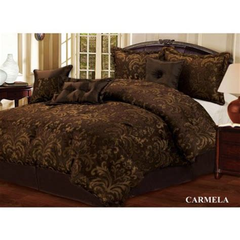 walmart comforters queen size carmela 7pc queen size comforter set dark brown walmart com
