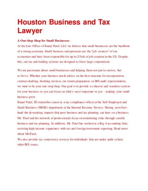Irs Office In Houston by Houston Business And Tax Lawyer