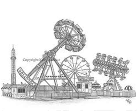 Amusement park drawing easy girl