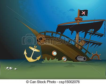 boat underwater drawing vectors illustration of pirate ship sunk underwater