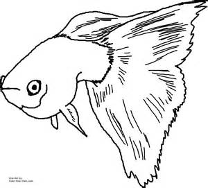 Guppies Outline by Fancy Guppy Coloring Page