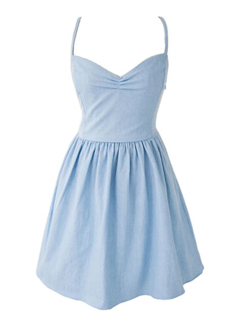 Light Blue Skater Dress by Light Blue Sweetheart Spaghetti Back Skater