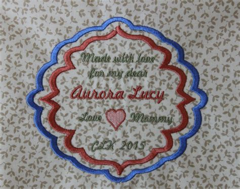 Custom Embroidered Quilt Labels by Quilt Label In Frame Custom Large Embroidered Label