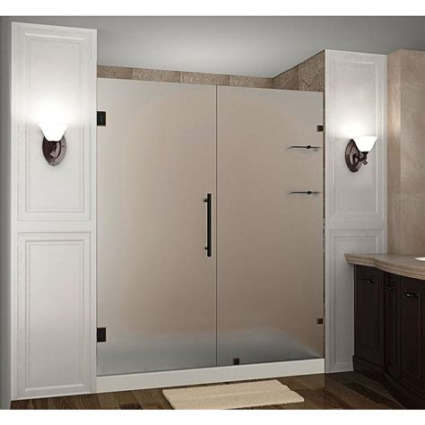 Hinged Glass Shower Door Aston Nautis Gs 76 In X 72 In Frameless Hinged Shower Door With Frosted Glass And Glass