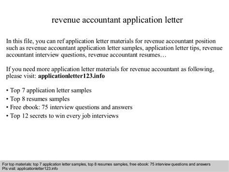 Revenue Accountant Cover Letter revenue accountant application letter
