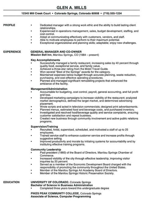 restaurant management resume sles restaurant manager resume exle resume exles