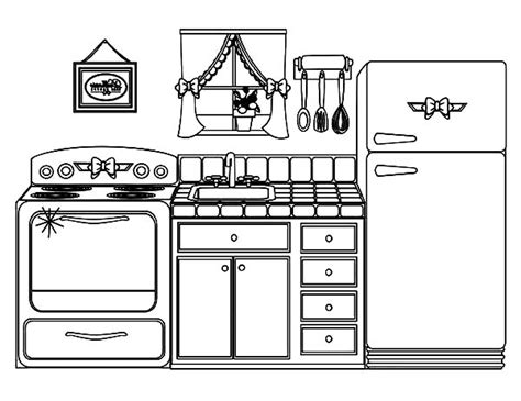 coloring page of a kitchen kitchen clipart coloring pencil and in color kitchen