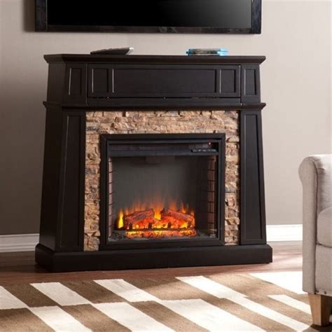 bowery hill 44 quot faux stone fireplace tv stand in black