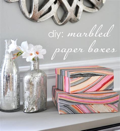 Marbled Paper Craft - marbled paper boxes ideas centsational style