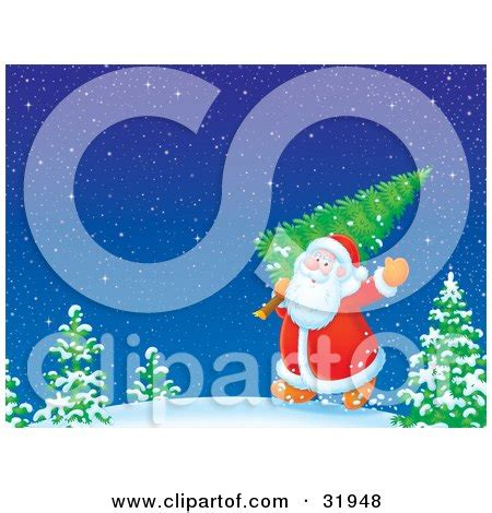 kris kringle trees clipart illustration of kris kringle waving and carrying a freshly cut tree his