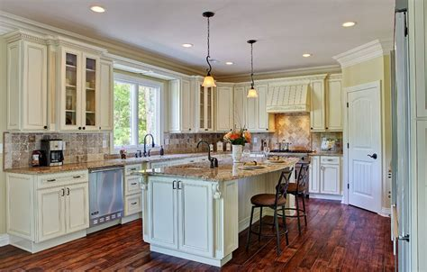 Antique Looking Kitchen Cabinets Country Style White Kitchen Cabinets With Antique Brown Granite And Parquet Flooring And