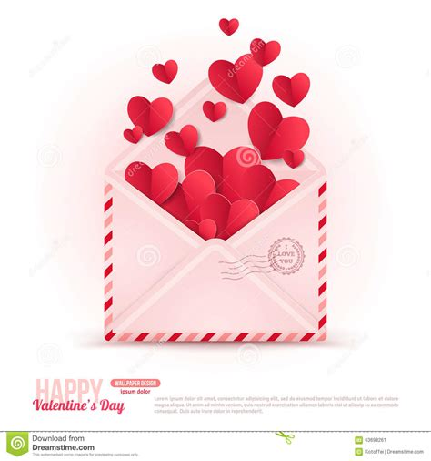 happy valentines day envelope with paper hearts stock