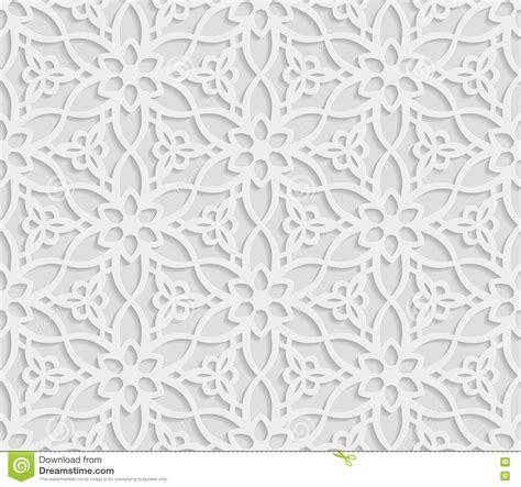 seamless pattern white seamless arabic geometric pattern 3d white background