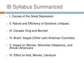 Literature Review On The Great Depression great depression ib review