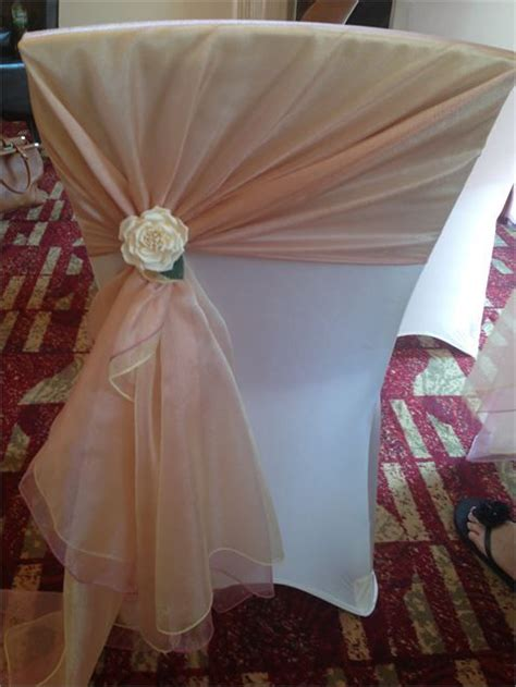 pink and gold chair sashes ivory chair cover with gold and dusky pink organza sash