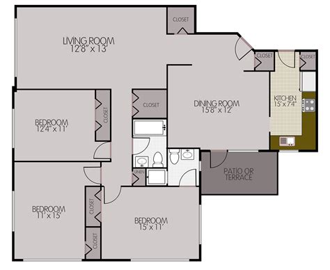 3 Bedroom Apartment Floor Plans by Bryn Mawr Apartments Conwyn Arms Apartments Floorplans