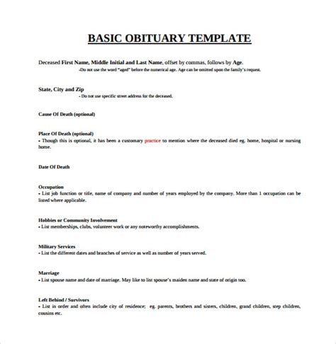 13 Printable Obituary Templates Sle Templates Free Obituary Template Photoshop