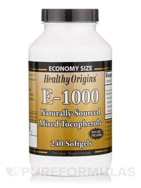 vitamin e 1000 iu natural mixed tocopherols 240 softgels