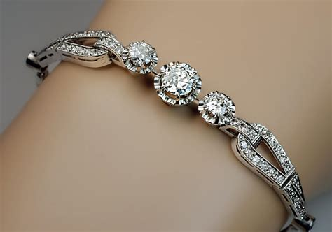 Art Deco Vintage Diamond Platinum Bracelet   Antique Jewelry   Vintage Rings   Faberge Eggs