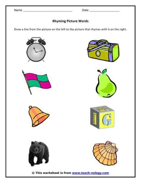 rhyming worksheet rhyming picture words