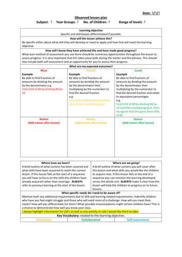 observed lesson plan template by jakemp28 teaching