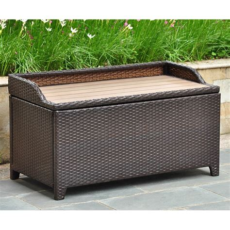 wicker bench storage barcelona outdoor storage trunk bench chocolate wicker