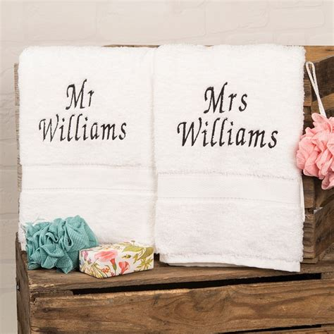 Wedding Gift Hers Uk by Personalised His And Hers Bath Towels Embroidered Gifts