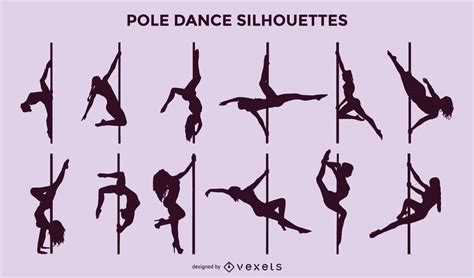 vector pole dance silhouette set vector