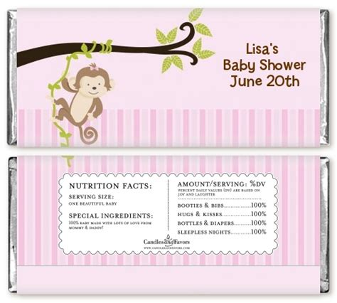 Bar Labels For Baby Shower by Monkey Baby Shower Bar Wrappers Candles Favors
