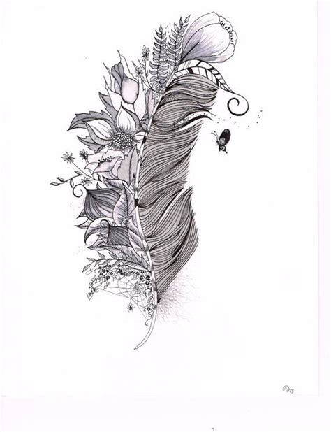 feather drawing original india ink drawing or tattoo