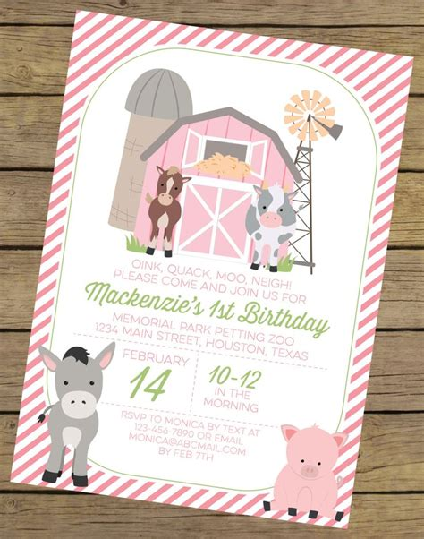 printable farm animal birthday invitations pink farm birthday invitation for a girl farm party
