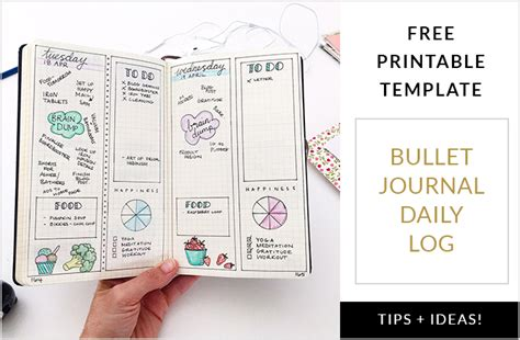 free design journals bullet journal daily log free printable template plus tips