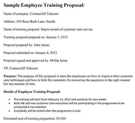 training proposal letter employee sle