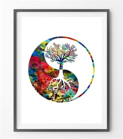 watercolor yoga tattoo yin yang tree symbol watercolor poster the tree of