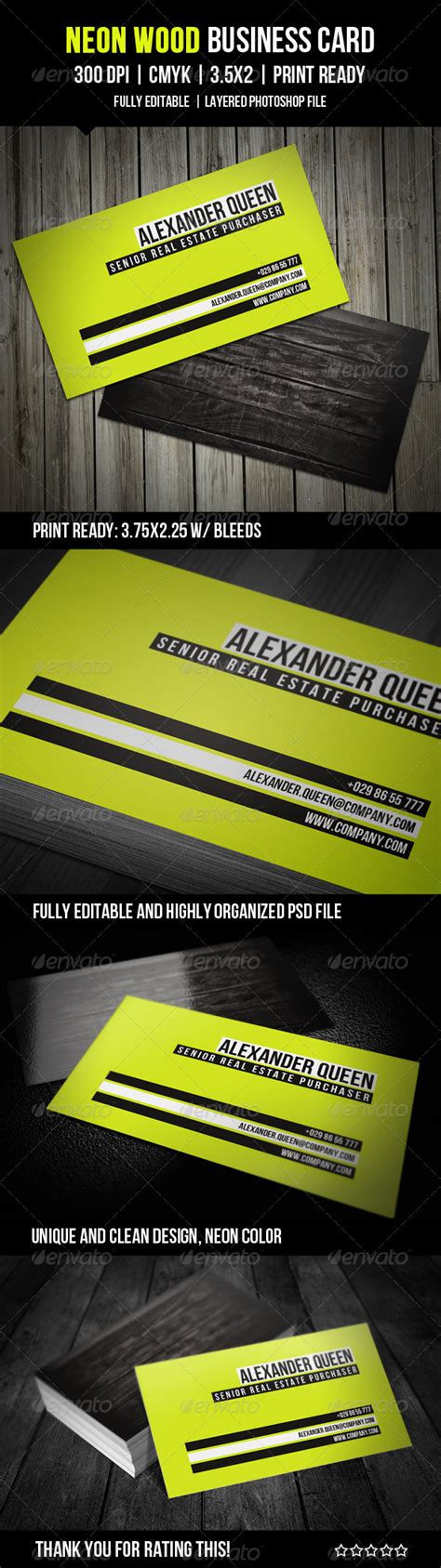 neon business cards templates neon wood business card by lavie1blonde graphicriver