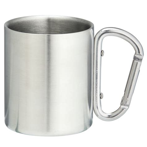 Gelas Carabiner Wall Cangkir Stainless Mug Travel 220ml wall stainless steel mug with carabiner handle gopromotionz