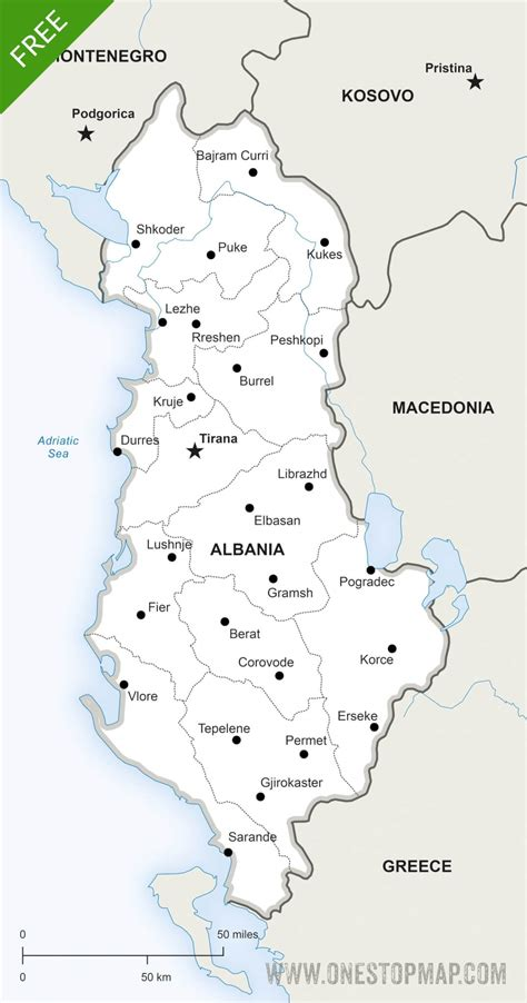 albania political map free vector map of albania political one stop map