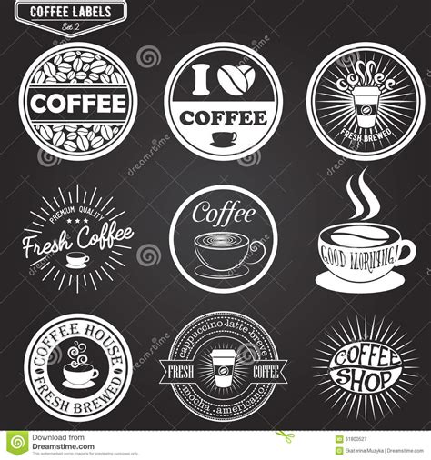 Set Of Coffee Labels Design Elements Emblems And Stock Vector Image 61800527 Coffee Label Design Template