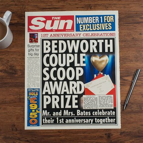 Wedding Announcement Newspaper Uk by The Sun Personalised Spoof Newspaper Article 1st Year