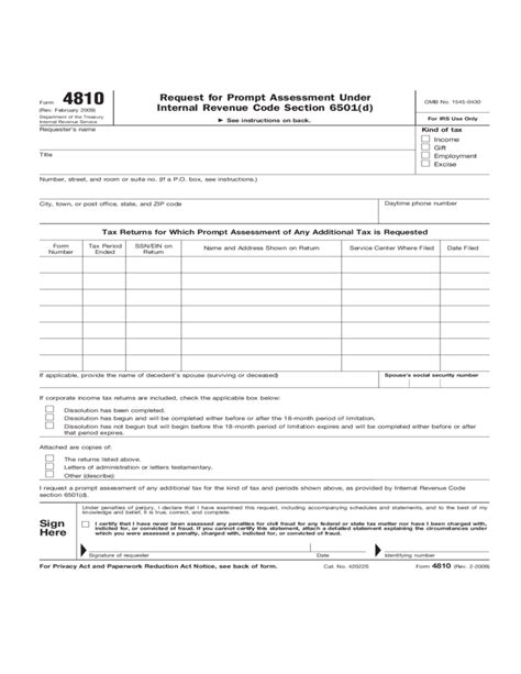 Section 170 C 1 Of The Revenue Code by Form 4810 Request For Prompt Assessment Revenue Code Section 6501 2012 Free