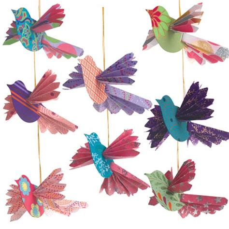 Paper Birds Craft - handmade paper bird ornaments ideal for the tree or for