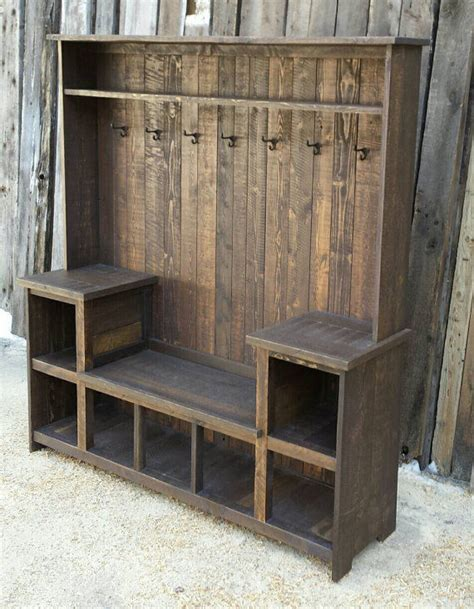 wood hall tree storage bench rustic reclaimed hall tree bench pictures photos and