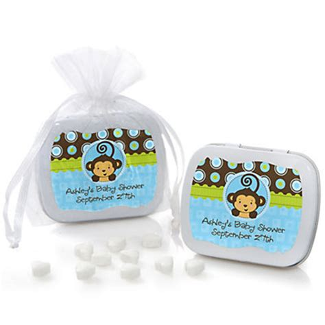 personalized baby shower favors for a boy blue monkey boy personalized baby shower mint tin favors