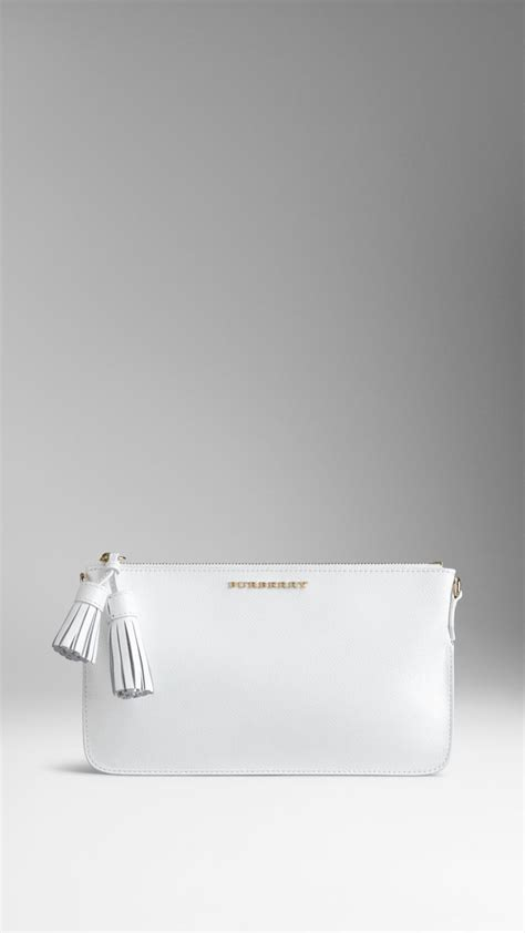 Burberry Patent Ashcombe Clutch Handbag by Burberry Patent Leather Tassel Clutch Bag In White