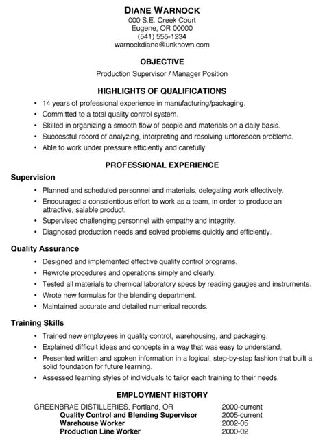 resume templates for a supervisor resume sle production supervisor manager