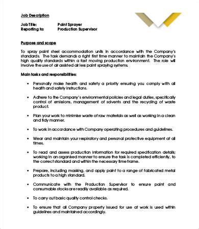 spray painter position description painter description 8 free pdf format