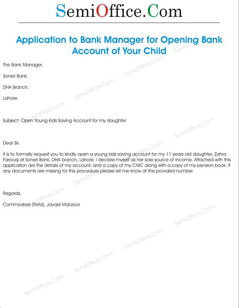 Bank Letter Joint Account Application To Bank Manager For Opening Account
