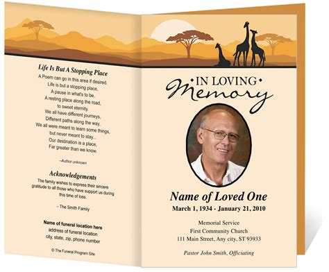 funeral programs templates free free funeral program template