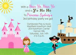 princess and pirate birthday invitation by nounces on etsy