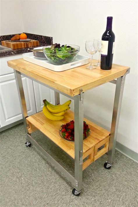 oasis island kitchen cart stainless steel and wood kitchen cart 30 x 20 in